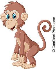 carino, proposta, cartone animato, scimmia