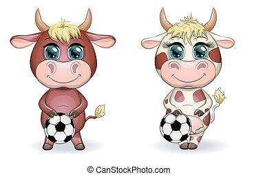 carino, proprio, cartone animato, 2021, fra, simbolo, toro, palla, mucca, esagoni, punti, calcio, somiglianza