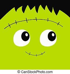 carino, quadrato, sinistro, character., frankenstein, design., divertente, card., fondo., bianco, felice, appartamento, mostro, zombie, bambino, cartone animato, halloween., augurio, faccia, verde, head., icon.