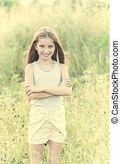 carino, ragazza adolescente, con, charmant, sorriso