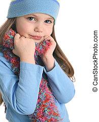 carino, ragazza, berretto, sciarpa