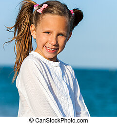 carino, ragazza, con, ponytails.