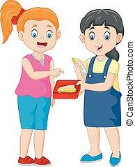 carino, ragazza, condivisione, amico, panino