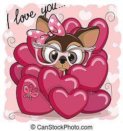 carino, ragazza, cucciolo, cartone animato, cuori
