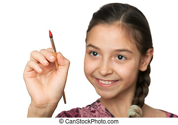 carino, ragazza, disegnare, uno, spazzola, in, spazio