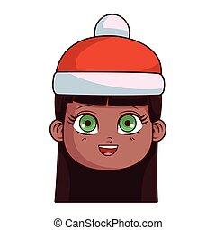 carino, ragazza, faccia, inverno, cartone animato