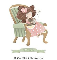 carino, ragazza, gatto, sedia, seduta