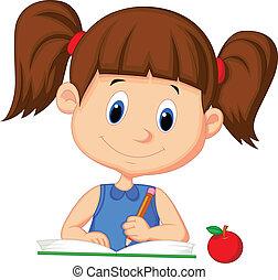 carino, ragazza, libro, cartone animato, scrittura