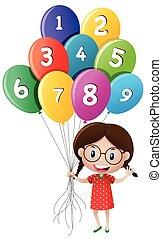 carino, ragazza, palloni, numeri, presa a terra