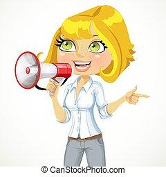 carino, ragazza, parlare, in, uno, megafono, e, mostra, lei,...
