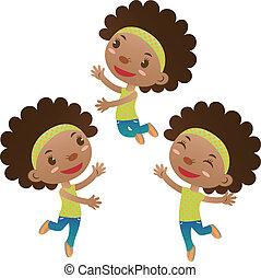 carino, ragazza, saltare, nero, ballo