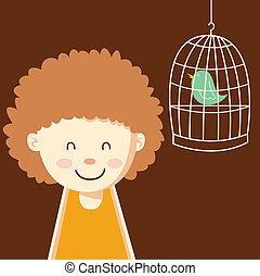 carino, ragazza, uccello