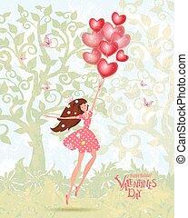 carino, ragazza, valentines, palloni