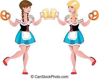 carino, ragazze, con, beer.