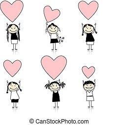 carino, ragazze, valentina, disegno, cuori, tuo