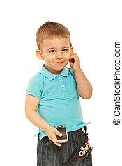 carino, ragazzo, bambino primi passi, telefono