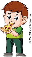 carino, ragazzo, consumo pizza