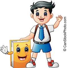 carino, ragazzo scuola, carattere, uniforme, libro, cartone animato