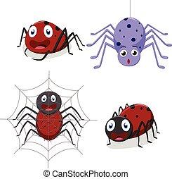 carino, ragno, cartone animato
