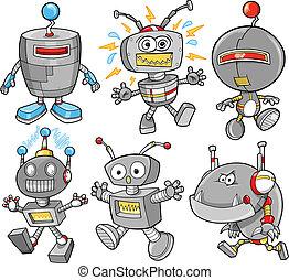 carino, robot, cyborg, vettore, set