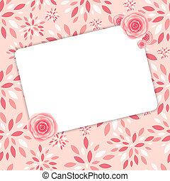 carino, rosa, cornice, illustrazione, vettore, fiori