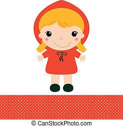 carino, rosso, sentiero per cavalcate, cappuccio, isolato, bianco