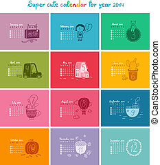 carino, scarabocchiare, calendario, per, 2014., settimana, inizi, da, domenica