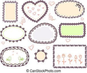 carino, scarabocchiare, floreale, vettore, cornice, set