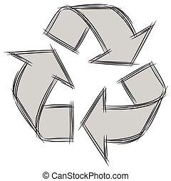 carino, scarabocchiare, illustrazione, segno, riciclare, cartone animato