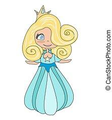 carino, scarabocchiare, -, isolato, illustrazione, principessa