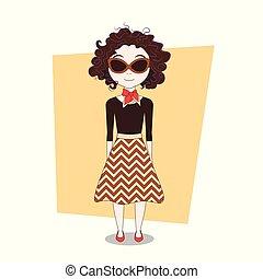 carino, scarabocchiare, moderno, elegante, ragazza, cartone animato, vestiti