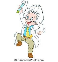 carino, scienziato, cartone animato