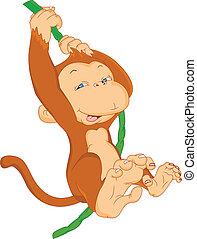 carino, scimmia, appendere