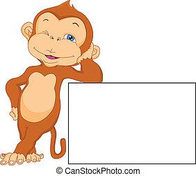 carino, scimmia, cartone animato, con, segno bianco