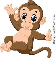 carino, scimmia, cartone animato