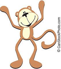 carino, scimmia, felice