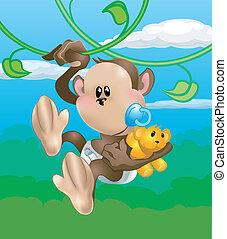 carino, scimmia, illustrazione