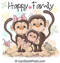 carino, scimmie, famiglia, tre