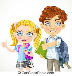 carino, scolaro, e, scolara, pronto, a, nuovo, scuola, anno