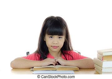carino, scuola, asiatico, scrivania, ritratto, ragazza