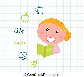 carino, scuola, elementi, &, icone, libro, biondo, lettura ragazza