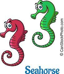 carino, seahorses, poco, cartone animato