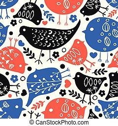 carino, seamless, vettore, fondo, floreale, uccello
