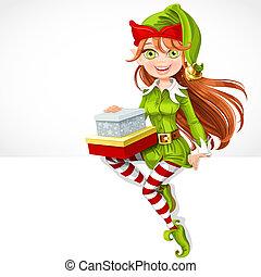carino, sedere, elfo, regali, santa, ragazza, bandiera, bianco