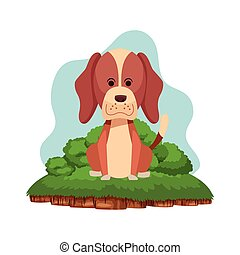 carino, seduta, cane, cartone animato, icona