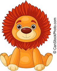 carino, seduta, cartone animato, leone bambino
