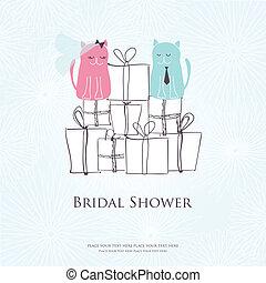 carino, seduta, due, doccia, scatole, gatti, scheda, invito...
