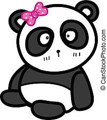 carino, seduta, illustrazione, arco, vettore, panda