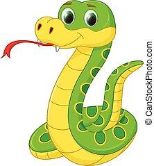 carino, serpente, cartone animato