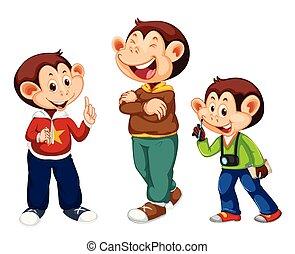 carino, set, carattere, scimmia